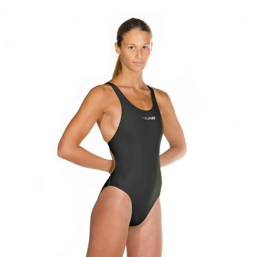 Black HEAD Liquid Power Women's racing swimsuit side front view