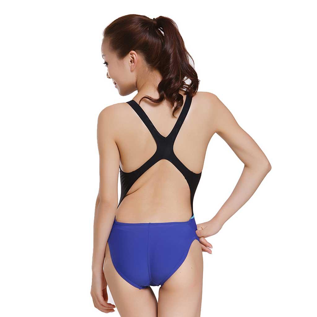 7cd45d5171d Yingfa One Piece Swimsuit 956-3 Black/Blue - Athletes Choice